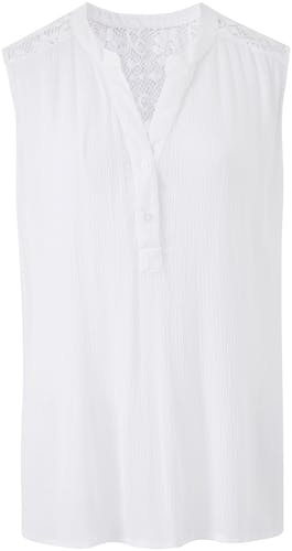 Crinkle Sleeveless Shirt With Lace Trim