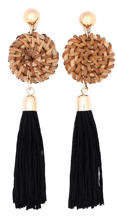 Raffia And Tassell Earrings