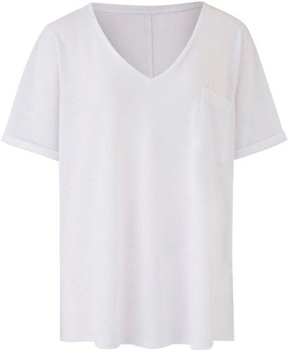 White Linen Blend T Shirt