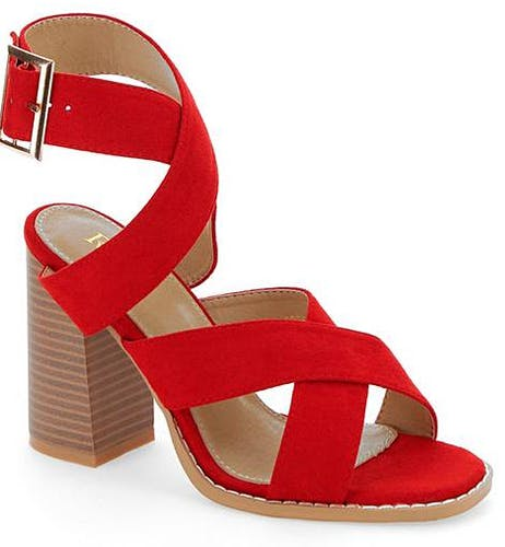 Red Abree Crossover Sandals Wide E Fit
