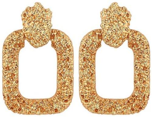 Mood Gold Textured Door Knocker Earrings