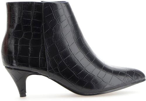 Flexi Sole Mock Croc Kitten Heel Ankle Boots Wide E Fit