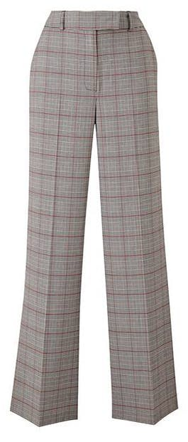 Wide Leg Checked Trousers