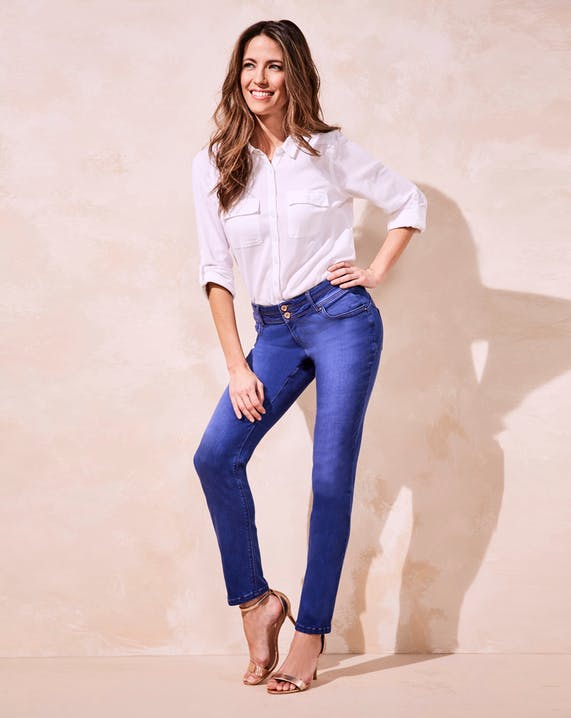 Premium Shape & Sculpt Bright Blue High Waisted Straight Leg Jeans Long Length