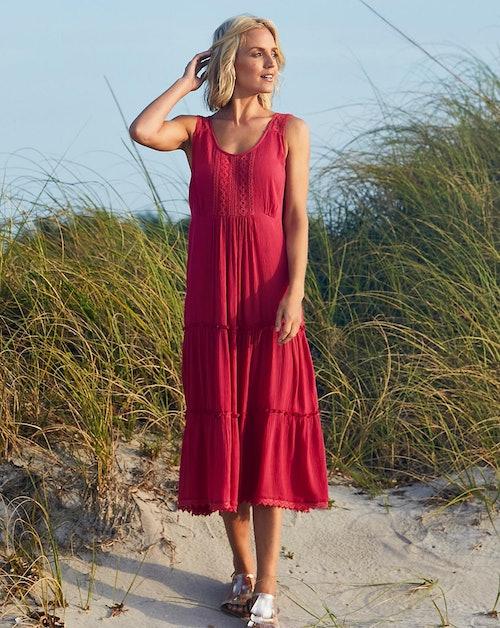 Julipa Crochet Trim Tierred Crinkle Dress
