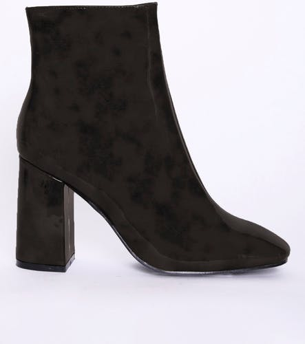 Glamorous Back Patent Block Heel Ankle Boots