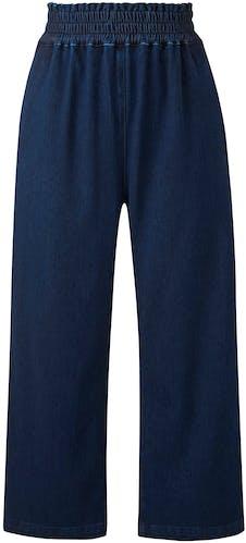 Indigo Premium Jersey Denim Crop Wide Leg Jeans