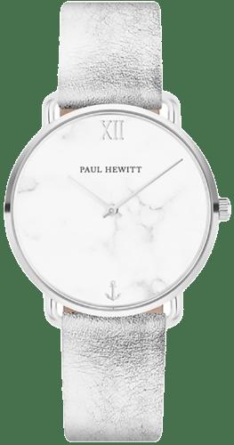 Montre PAUL HEWITT Femme avec Boîtier Rond 33 mm et Bracelet en Cuir Gris