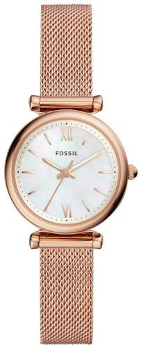 Cette montre FOSSIL se compose d'un boîtier Rond de 28 mm et d'un bracelet en Maille milanaise Rose  -