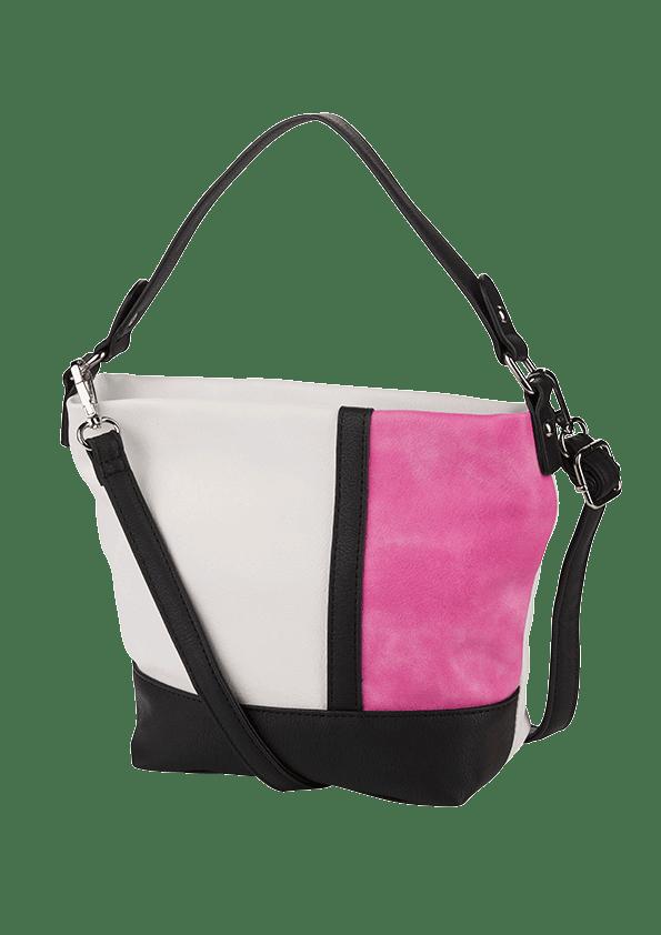 Große Tasche in Pink und Weiß mit schwarzen Details und Riemen.