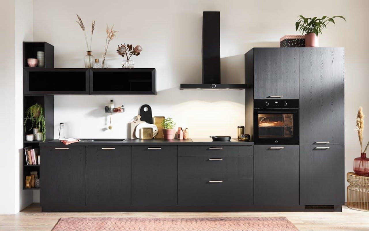 Einbauküche Structura, schwarz, inklusive Elektrogeräte, inklusive Siemens Geschirrspüler