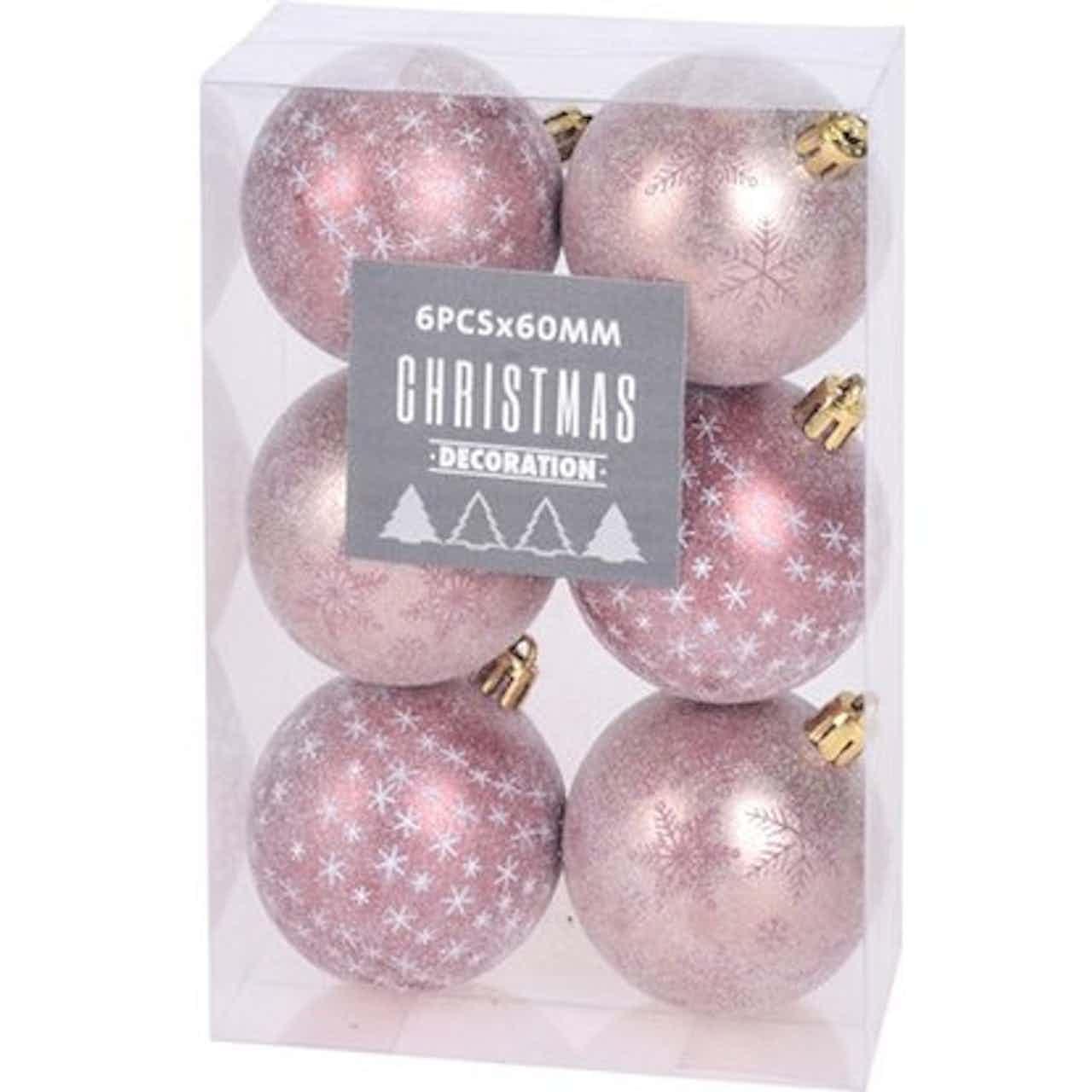 Karácsonyfagömbök 6 cm rózsaszín 6 darab