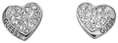 Boucles d'oreilles GUESS Métal Rhodié Argenté, Motif coeur, Cristal