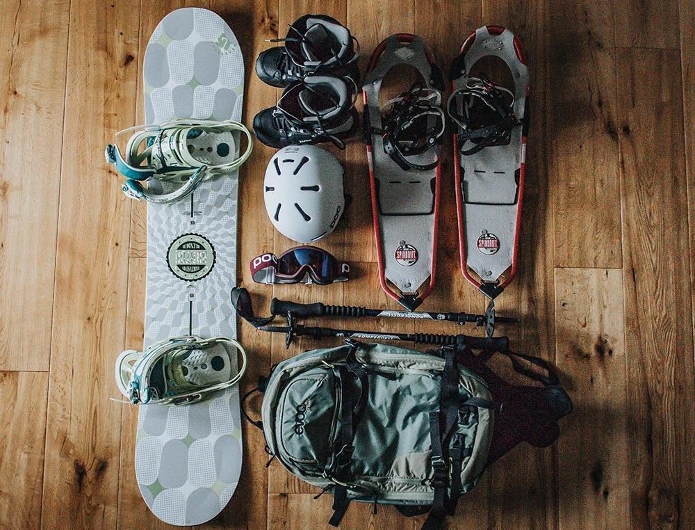 Ausrüstung zum Snowboard Tourengehen