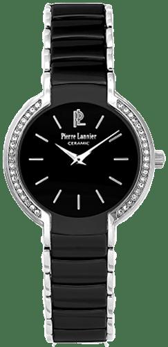 Cette montre PIERRE LANNIER se compose d'un Boîtier Ovale de 31 mm x 32 mm et d'un bracelet en Céramique Noire