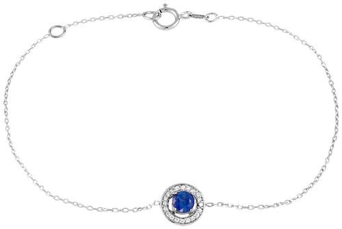 Ce Bracelet CLEOR est en Or 375/1000 Blanc et Saphir Bleu