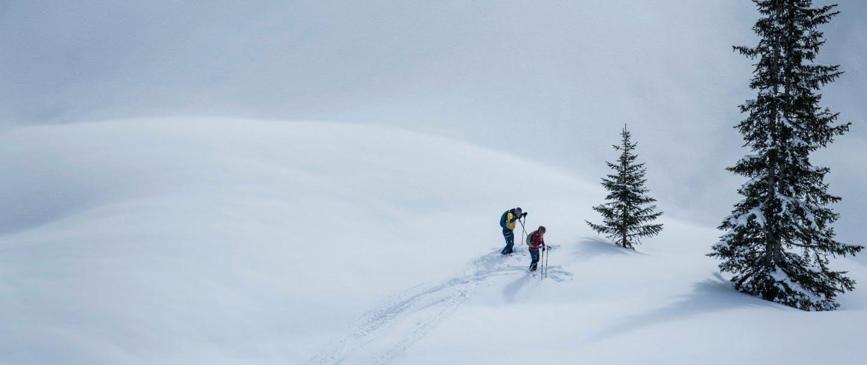 Atleti di scialpinismo su paesaggio innevato