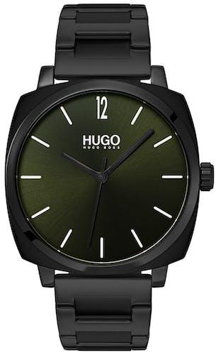 Cette montre HUGO se compose d'un boîtier Carré de 40 mm et d'un bracelet en Acier Noir