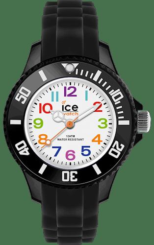Montre ICE WATCH Enfant, Boîtier Rond Plastique Blanc, Bracelet Silicone Noir