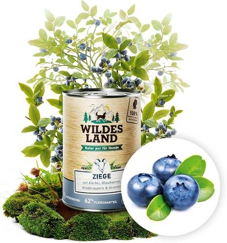 Wildes Land - Nassfutter - Ziege mit Kürbis, Blaubeeren, Wildkräutern und Distelöl (getreidefrei)
