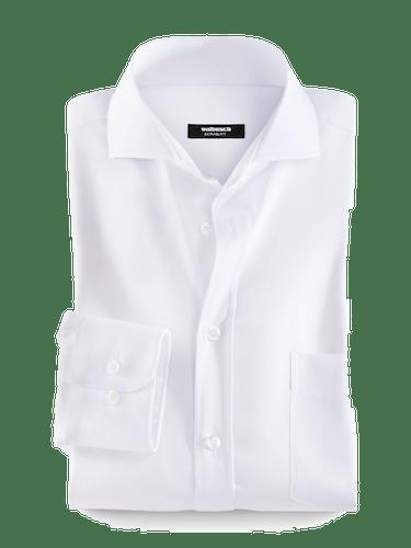 Weißes Hemd mit weißen Knöpfen und Haifisch-Kragen.
