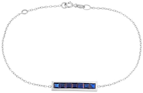 Ce Bracelet CLEOR est en Or 750/1000 Blanc et Saphir Bleu