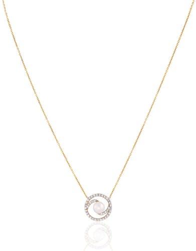 Ce Collier CLEOR est en Or 375/1000 Jaune, Perle de culture Blanche et Oxyde