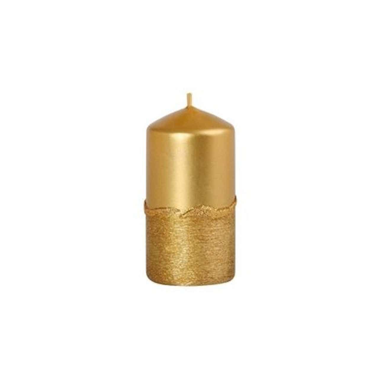 Svíčka drápaná válcová s vlnkou 50 x 100 mm, zlatá