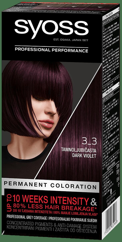 Стійка фарба для волосся Syoss Темно-фіолетовий 3-3 shot pack