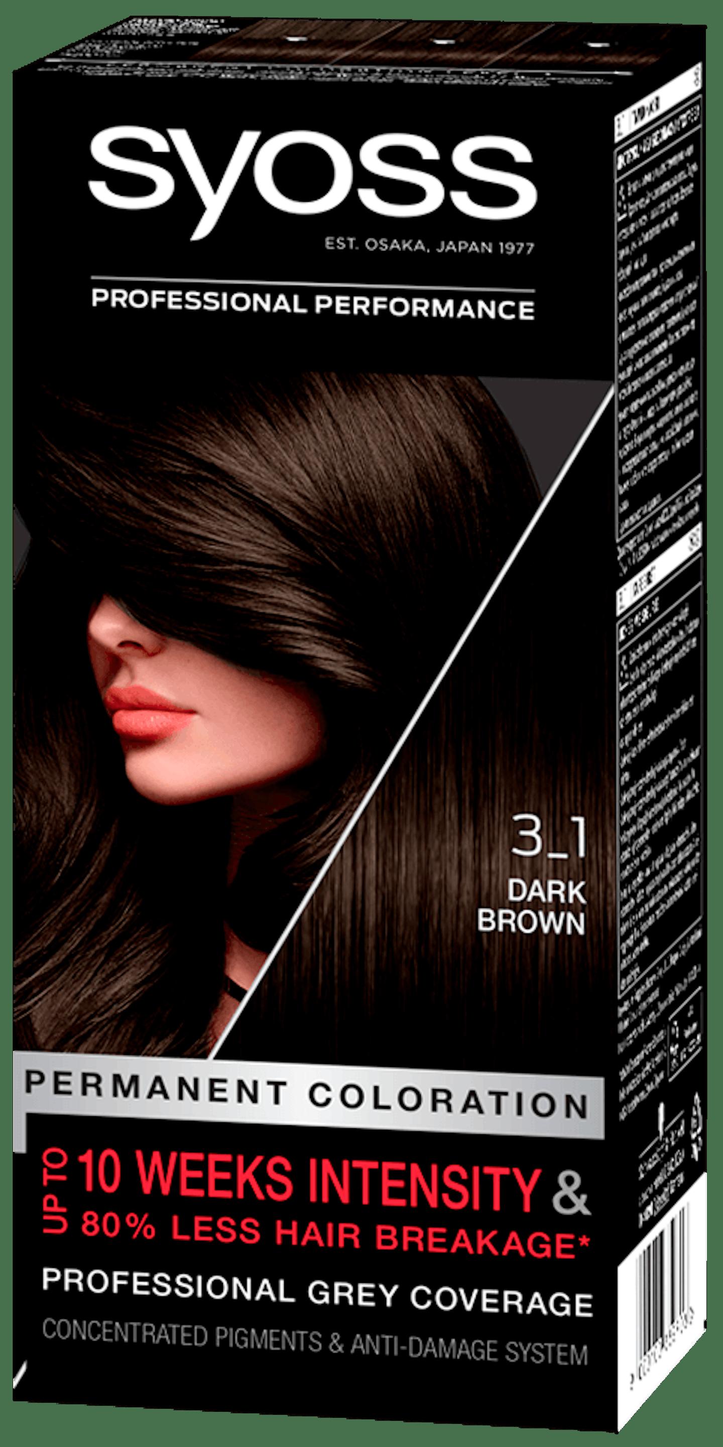 Стійка фарба для волосся Syoss Темно-каштановий 3-1