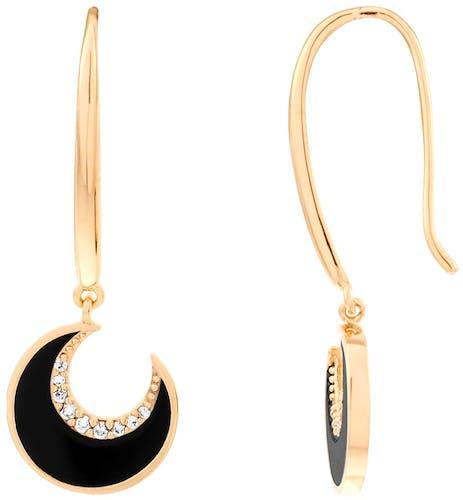 Ces Boucles d'oreilles YUCATÁN CONSTELLATION sont en Plaqué Or Jaune et Agathe Noir en forme de Lune  -