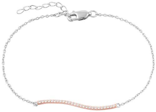 Ce Bracelet CLEOR est en Argent 925/1000 Bicolore et Oxyde Blanc