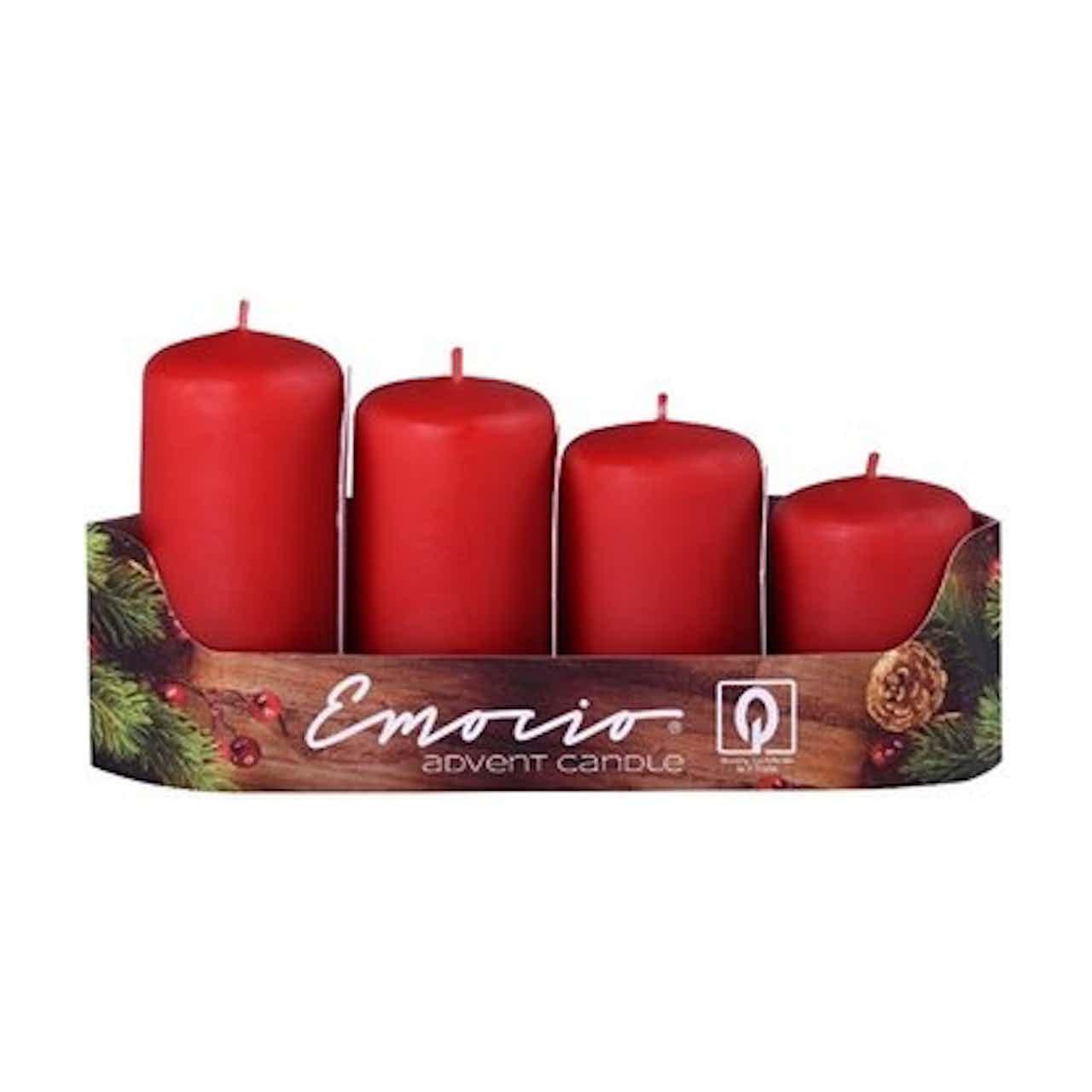 Svíčky adventní stupňovité 4 ks, pr. 40 mm, červené