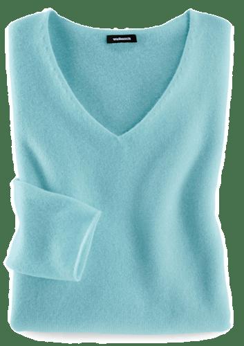 Türkisfarbener Pullover mit femininem V-Ausschnitt.