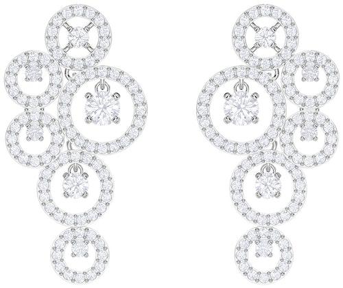 Ces Boucles d'oreilles Pendantes SWAROVSKI est en Métal et Cristal Blanc