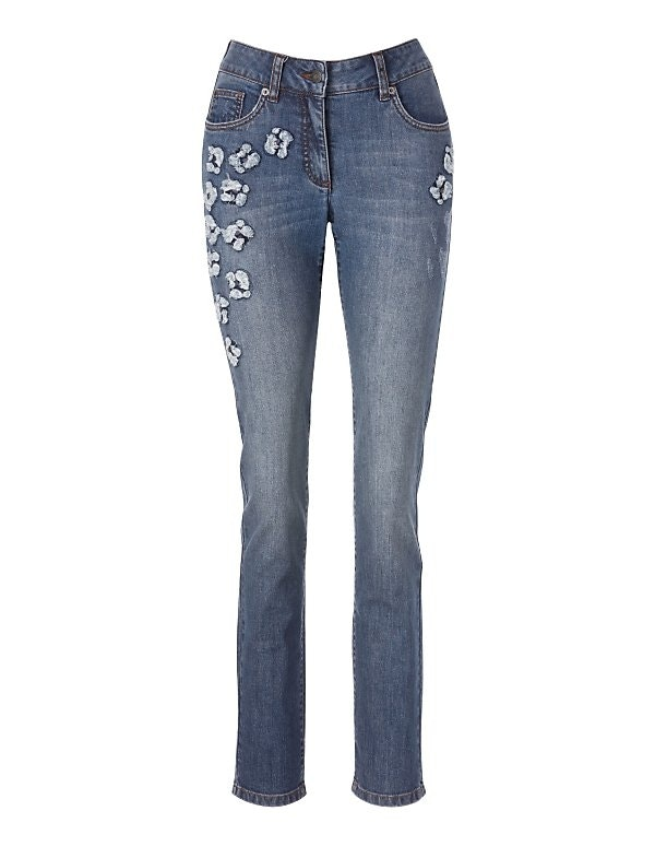 Used-Jeans mit Blumeneffekten