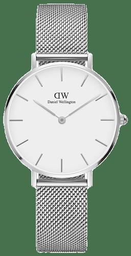 Cette montre DANIEL WELLINGTON se compose d'un boîtier Rond de 32 mm et d'un bracelet en Acier Gris
