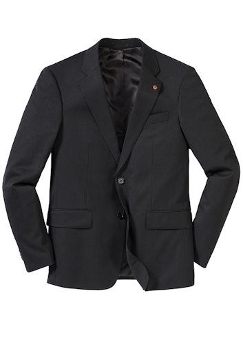 Schwarzes Sakko mit Knopf und drei Taschen.