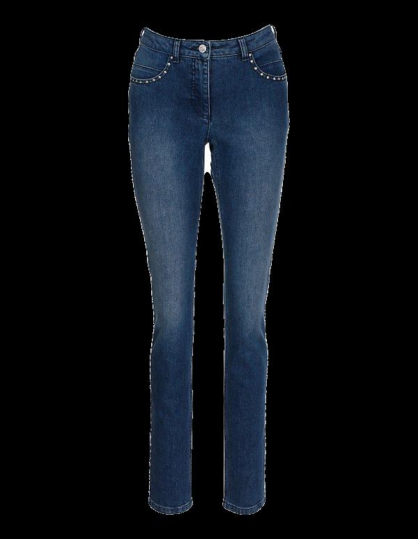 Schmale Stretch-Jeans mit Nieten