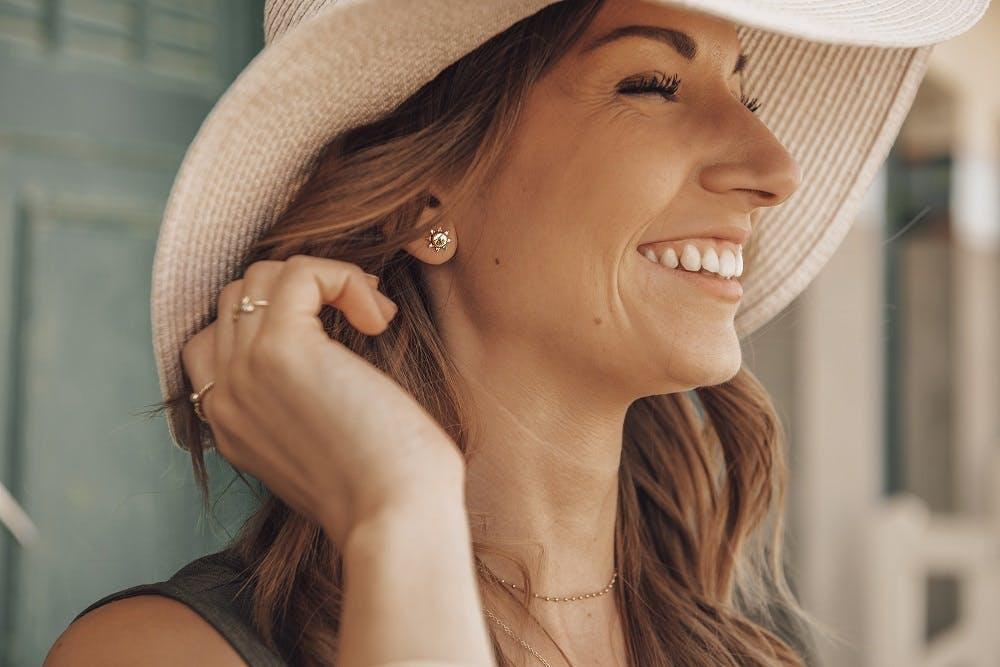 Boucles d'oreilles SOLIS en Argent 925/1000 Jaune et Oxyde Blanc