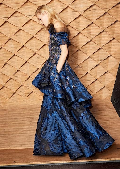 Talbot Runhof, Evening Gown, Abendkleid, Robe, Blau, Tüll, Oscar, Academy Awards, Lodenfrey