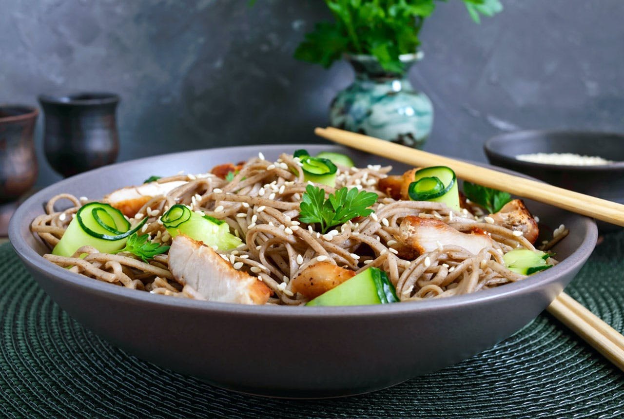 Bowl of Sesame Noodles with Chicken