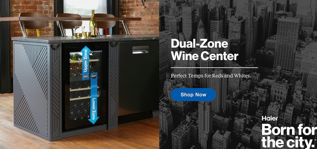 Dual-Zone Wine Center shown installed in modern Haier kitchen.