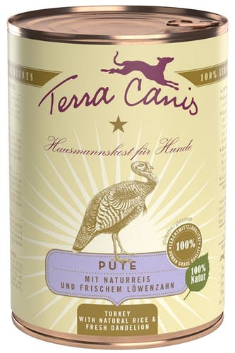Terra Canis Nassfutter Pute mit Naturreis & frischem Löwenzahn (glutenfrei)