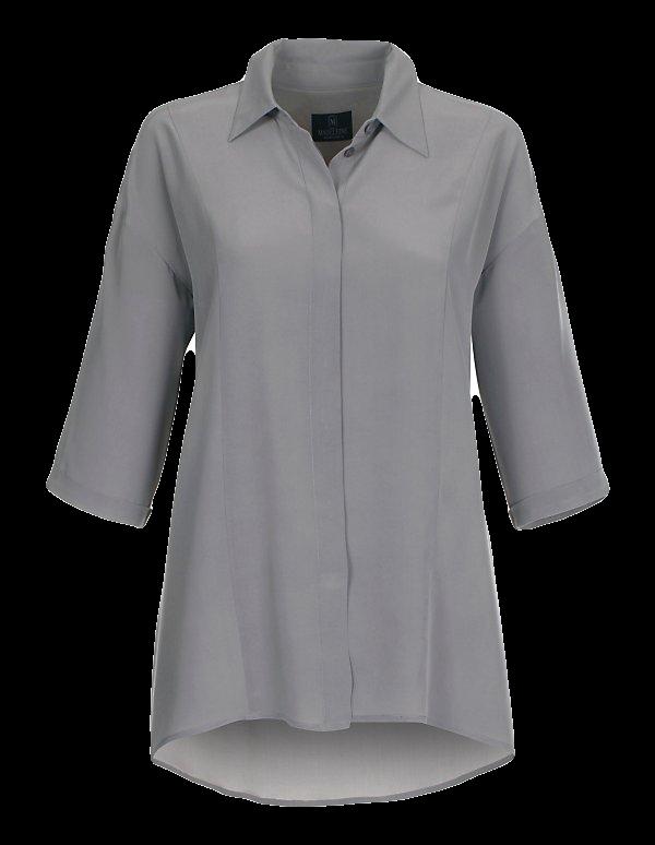 Grau: Lässiges Seidenhemd mit Halbarm