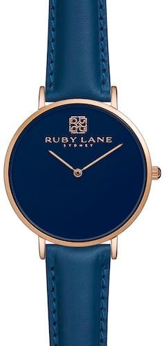 Montre RUBY LANE Femme avec Boitier Rond 36 mm et Bracelet Cuir Bleu