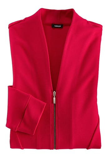 Rote Jacke mit Reißverschluss.