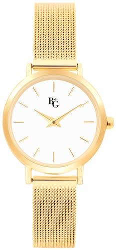 Cette montre B&G se compose d'un boîtier Rond de 28 mm et d'un bracelet en Métal Jaune