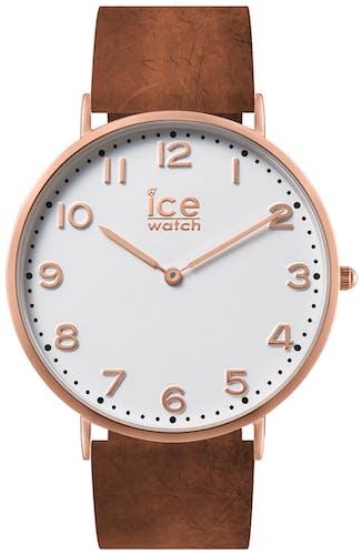 Montre ICE-WATCH Mixte, Boîtier Rond, Bracelet Cuir Marron