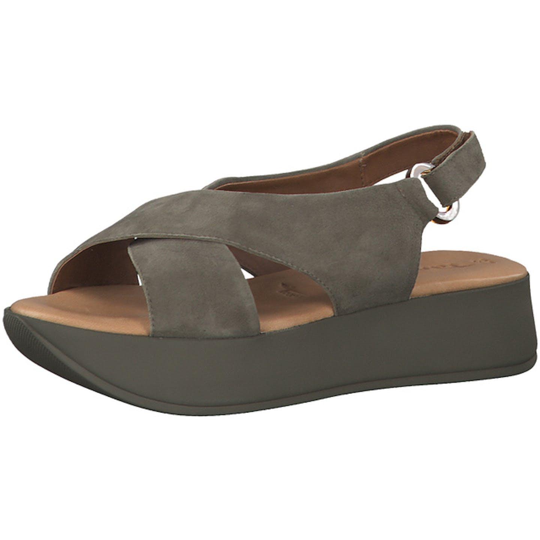Tamaris Plateau Sandaletten für Damen, grün
